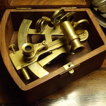 Vintage Reproduction Small Brass Sextant